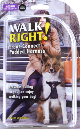 Walk Right! Medium Black Front-Connect Padded Harness Perspective: front