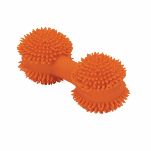 Coastal Pet Products 76484830334 3 in. Rascals Latex Toy Spiny Dumbbell, Orange Perspective: front