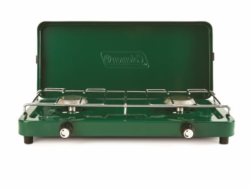 Coleman Double Burner Propane Stove - Green Perspective: front