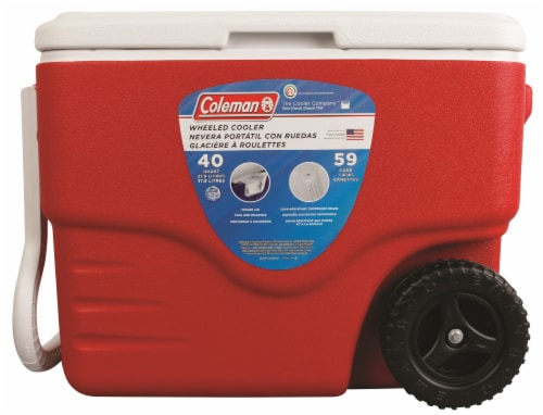 Coleman Wheeled Cooler - Red Perspective: front