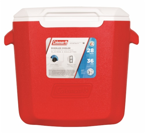 Coleman Wheeled Cooler - Red/White Perspective: front