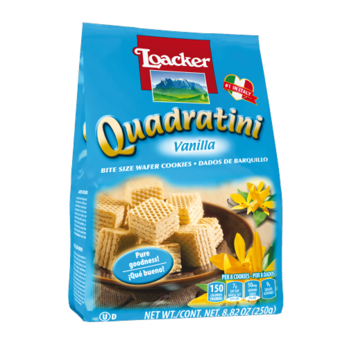 Loacker Quadratini Vanilla Bite Size Wafer Cookies Perspective: front