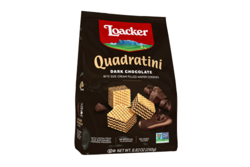 Loacker Quadratini Dark Chocolate Bite Size Wafer Cookies Perspective: front
