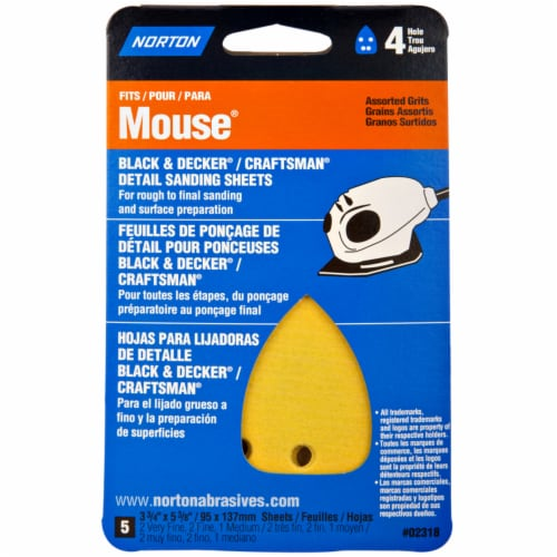Norton Mouse® Assorted Grits Detail Sanding Sheets Perspective: front