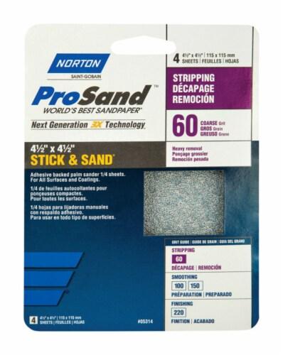 Norton  ProSand  4-1/2 in. L x 4-1/2 in. W 60 Grit Aluminum Oxide  Sanding Sheet  4 pk - Case Perspective: front