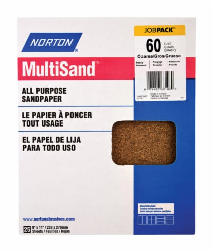 Norton  MultiSand  11 in. L x 9 in. W 60 Grit Aluminum Oxide  All Purpose Sandpaper  25 pk - Perspective: front