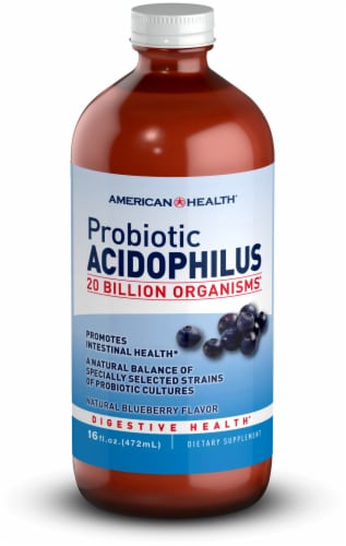 American Health Blueberry Probiotic Acidophilus 20 Billion Organisms Perspective: front