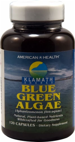 American Health Blue Green Algae Capsules Perspective: front