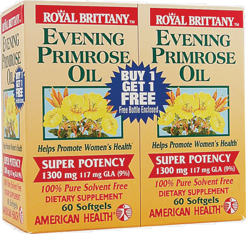 American Health Royal Brittany Evening Primrose Oil Softgels 1300mg Perspective: front