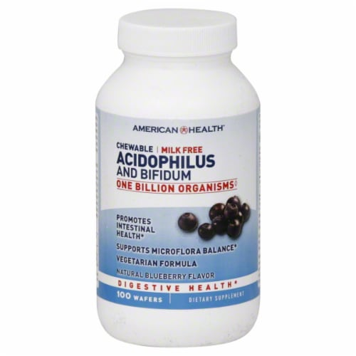 American Health Blueberry Acidophilus Chewables Perspective: front