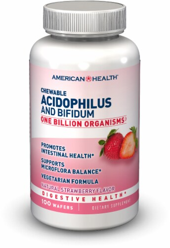 American Health Strawberry Acidophilus and Bifidum Chewables Perspective: front