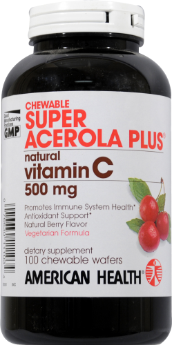 American Health Super Acerola Plus Chewable Wafers Perspective: front