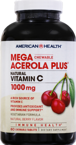 American Health Acerol Plus Berry Flavored Vitamin C Tablets 1000 mg Perspective: front