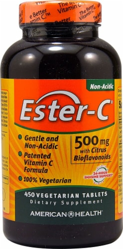 American Health Ester-C with Citrus Bioflavonoids Tablets 500 mg Perspective: front