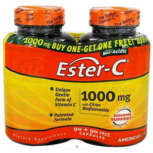American Health 1000 Mg Ester C With Citrus Bioflavonoids, 90 + 90 Capsules Perspective: front