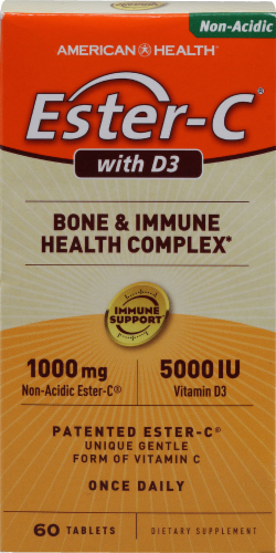 American Health Ester-C 1000 mg with D3 5000 IU Bone & Immune Health Complex Perspective: front