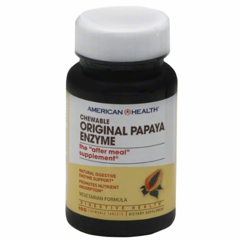 American Health Papaya Enzyme Chewable Tablets Perspective: front