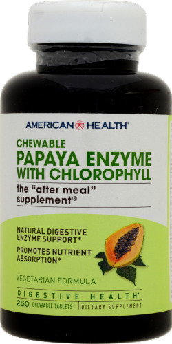 American Health Chewable Papaya Enzyme with Chlorophyll Digestive Health Formula Perspective: front