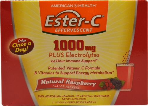 American Health  Ester-C® Effervescent   Natural Raspberry Perspective: front