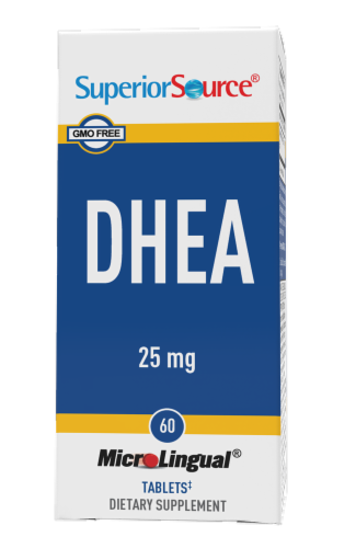 Superior Source DHEA Tablets 25mg Perspective: front