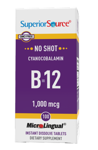 Superior Source No Shot B-12 Cyanocobalamin Instant Dissolve Tablets 1000mg Perspective: front