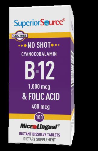 Superior Source No Shot B-12 & Folic Acid Tablets Perspective: front