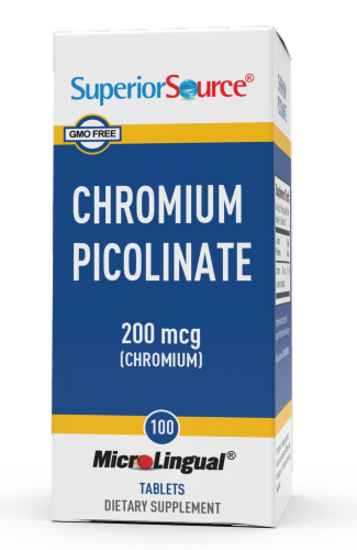 Superior Source Chromium Picolinate Tablets 200mcg Perspective: front