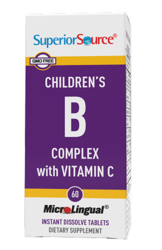 Superior Source Children's B Complex with Vitamin C Instant Disssolve Tablets 60 Count Perspective: front