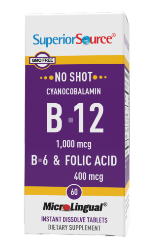 Superior Source No Shot B-12 with B6 and Folic Acid Dissolving Tablets Perspective: front