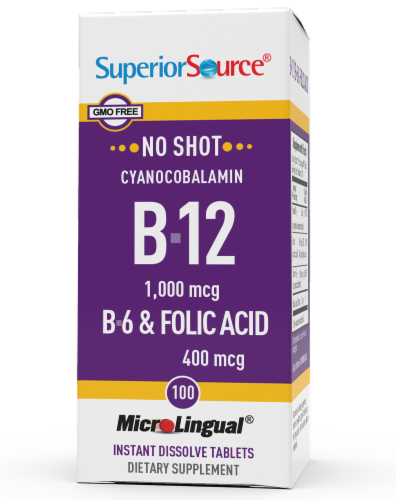 Superior Source No Shot B-12 with B6 & Folic Acid Tablets Perspective: front