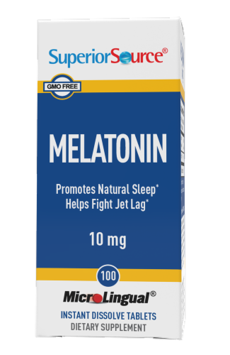 Superior Source Melatonin Dissolving Tablets 10mg Perspective: front