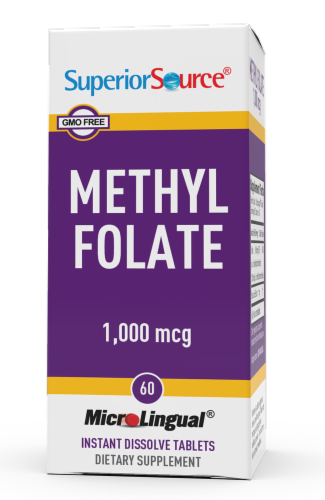 Superior Source Methylfolate Instant Dissolve Tablets 1000mcg Perspective: front