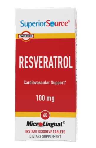 Superior Source Resveratrol Instant Dissolve Tablets 100mg Perspective: front