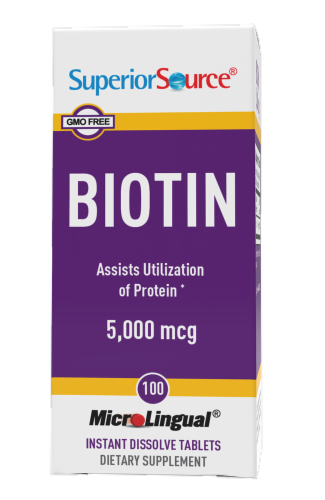 Superior Source Biotin Tablets 5000mcg 100 Count Perspective: front