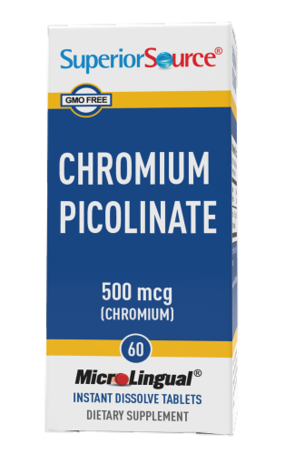 Superior Source Chromium Picolinate Tablets 500mcg 60 Count Perspective: front