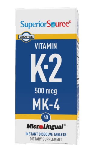 Superior Source Vitamin K2 Tablets 500mcg 60 Count Perspective: front