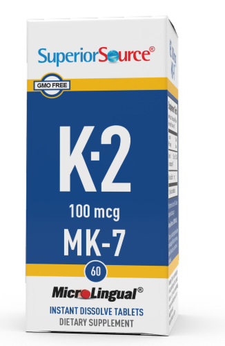 Superior Source Vitamin K2 Instant Dissolve Tablets 100mcg Perspective: front