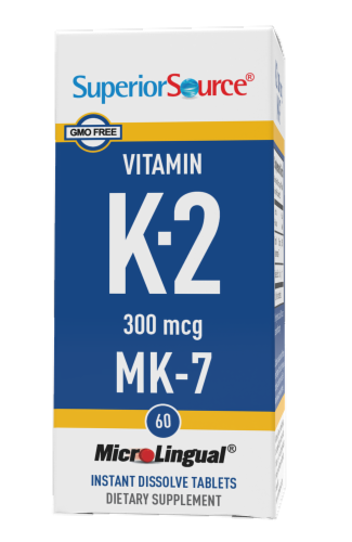 Superior Source Vitamin K-2 MK-7 Instant Dissolve Tablets 300mcg Perspective: front