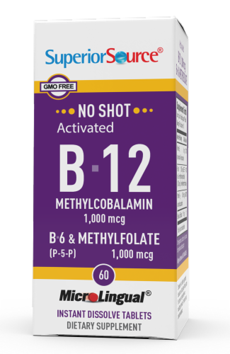Superior Source No Shot B-12 with B-6 & Methylfolate Instant Dissolve Tablets 1000mcg Perspective: front