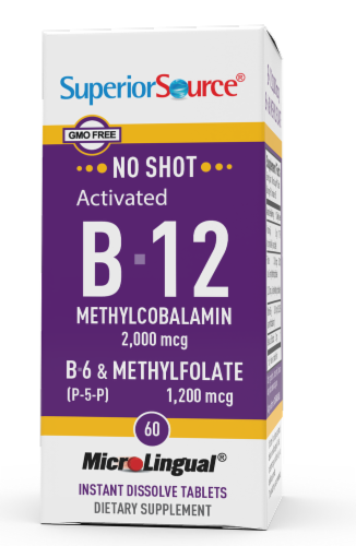 Superior Source No Shot B-12 with B-6 & Methylfolate Dissolving Tablets 2000mg Perspective: front