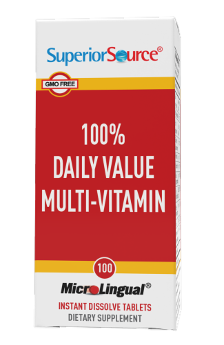 Superior Source 100% Daily Value Muti-Vitamin Instant Dissolve Tablets Perspective: front