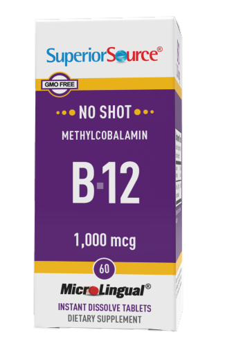 Superior Source No Shot Methylcobalamin B-12 Dissolving Tablets 1000mcg 60 Count Perspective: front