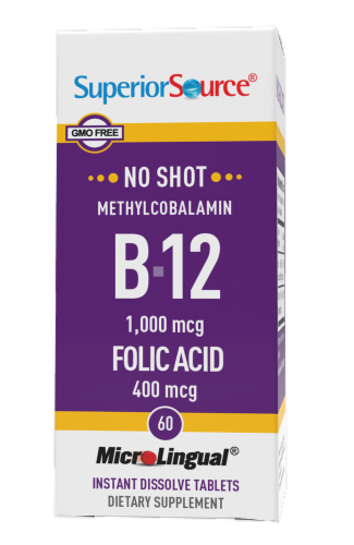 Superior Source No Shot B12 with Folic Acid Dissolving Tablets 1000mcg Perspective: front