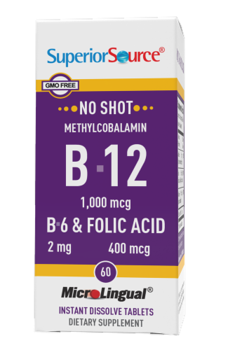 Superior Source No Shot B-12 with B-6 & Folic Acid Dissolving Tablets 1000mcg Perspective: front