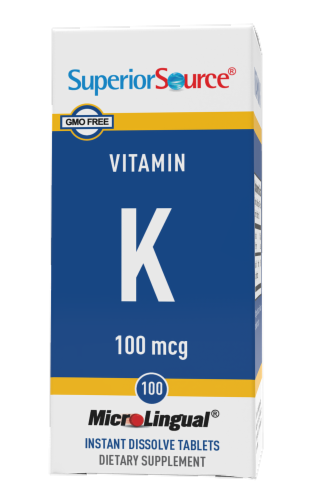 Superior Source Vitamin K Instant Dissolve Tablets 100mcg 100 Count Perspective: front