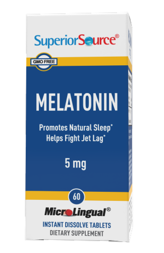 Superior Source Melatonin Dissolving Tablets 5mg Perspective: front
