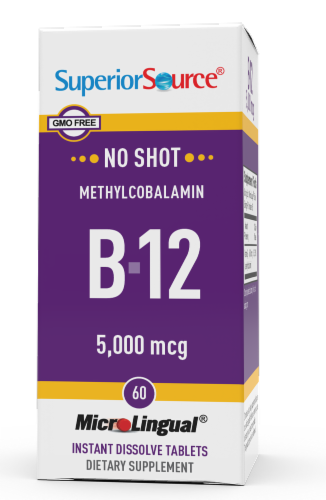 Superior Source No Shot Methyl B-12 Tablets 5000mcg Perspective: front