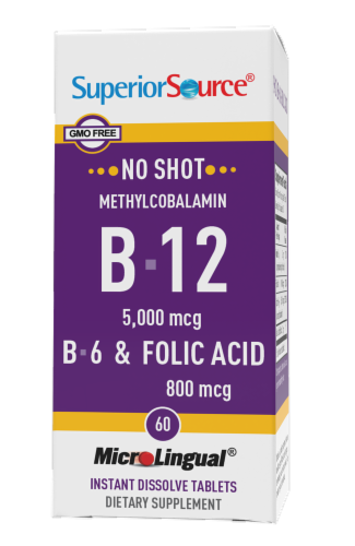 Superior Source No Shot B-12 with B-6 & Folic Acid Dissolving Tablets 5000mg Perspective: front