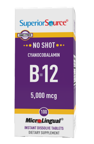 Superior Source No Shot B-12 Tablets 5000mcg Perspective: front