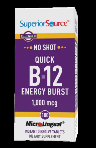 Superior Source No Shot Quick B-12 Energy Burst Dissolving Tablets 1000mcg Perspective: front